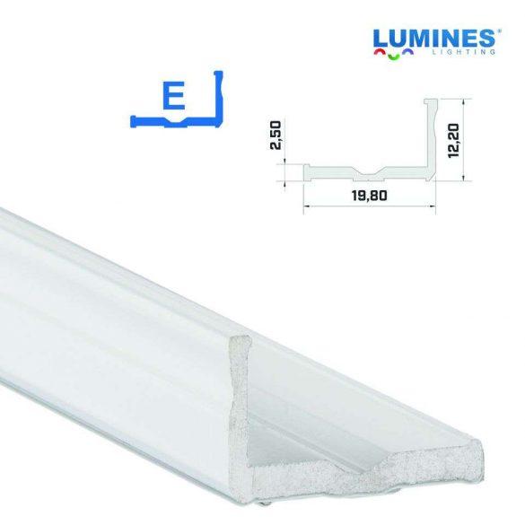 Led profil led szalagokhoz,  szélesebb L alakú, fehér, 1 méteres