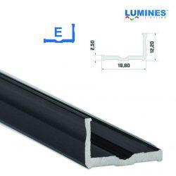 Led profil led szalagokhoz Szélesebb L alakú fekete 3 méteres