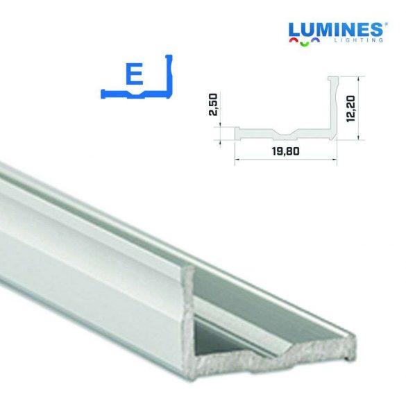 Led profil led szalagokhoz,  szélesebb L alakú, ezüst, 2 méteres