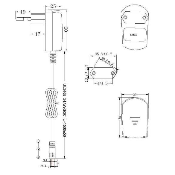 EB Led tápegység dugvillás 12V 1,2W DC kimenettel