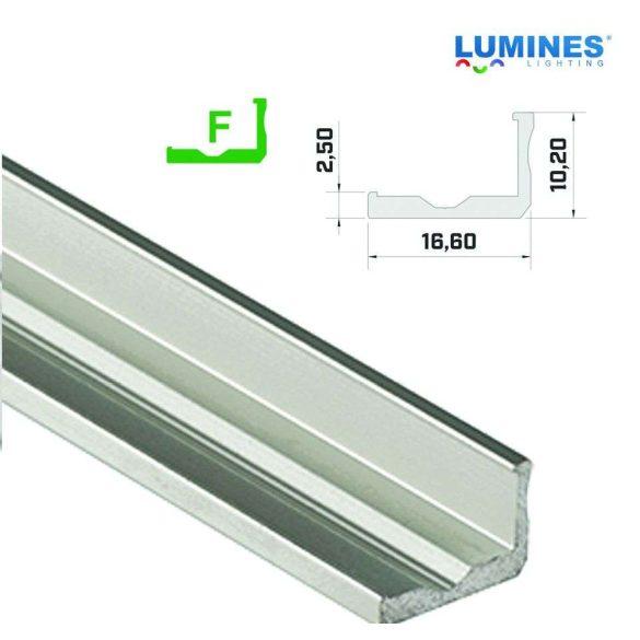Led profil led szalagokhoz, keskenyebb L alakú,  ezüst, 2 méteres