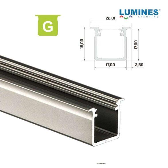 Led profil led szalagokhoz Beépíthető Mély natúr 1 méteres alumínium