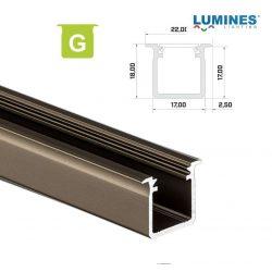 Led profil led szalagokhoz Beépíthető Mély bronz 1 méteres alumínium