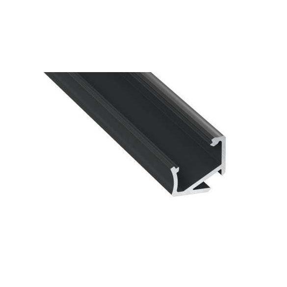 Led alumínium profil Asszimetrikus Sarokba rögzíthető (H) fekete 2 méteres alumínium