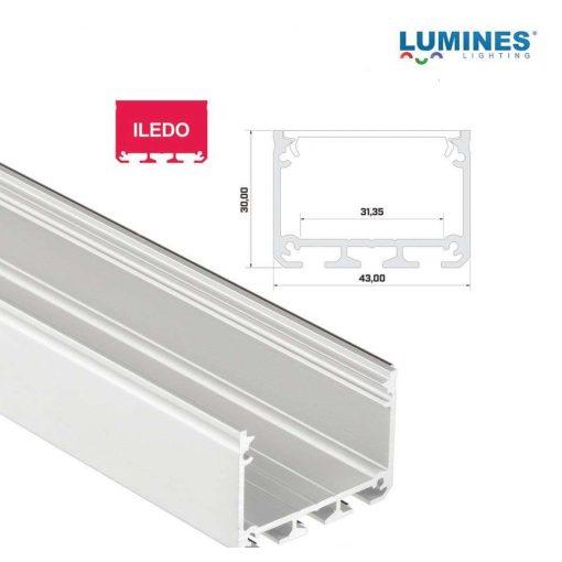 Led profil led szalagokhoz Széles Magas Fehér 1 méteres alumínium