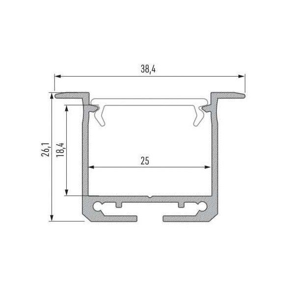 Led Alumínium Profil INDILEDA 2 méter Fehér