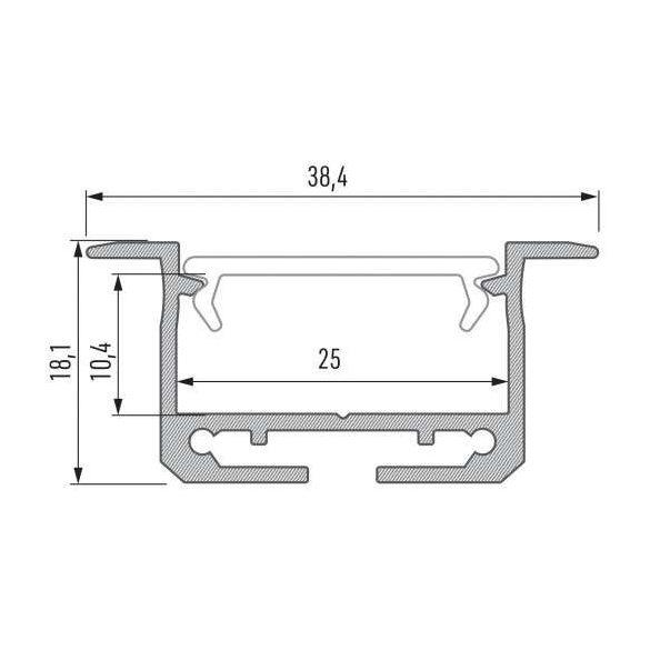 Led Alumínium Profil INSILEDA 2 méter Fehér