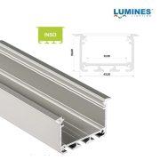 Led profil INSO led szalagokhoz Beépíthető Széles Mély Ezüst 2 méteres alumínium