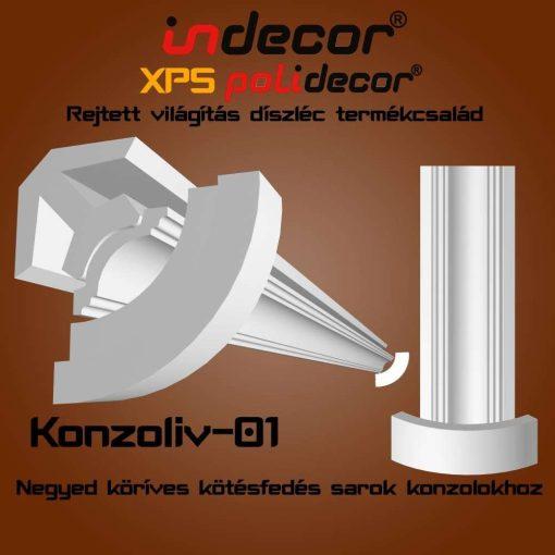 Indecor® Konzoliv-01 negyedköríves kötésfedés sarok konzolokhoz