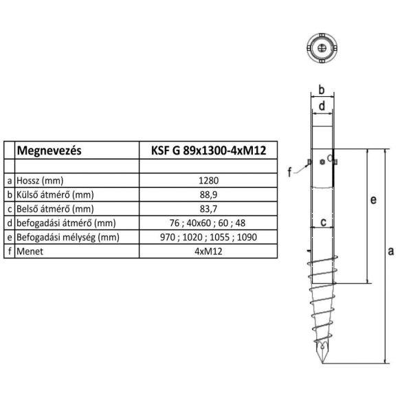 KSF G 89x1300-4xM12