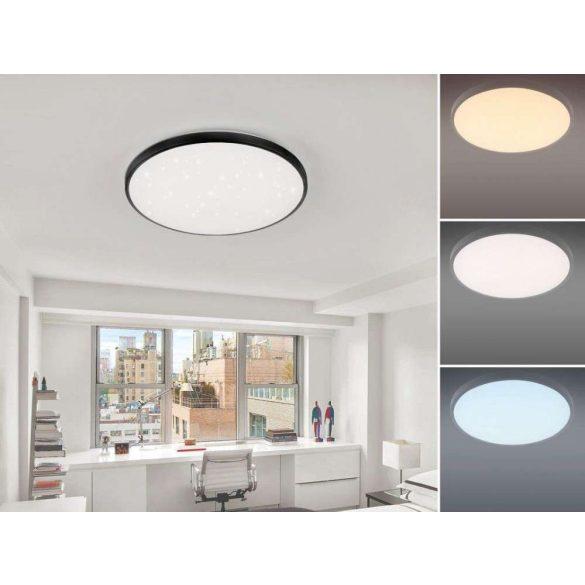 NEDES LED mennyezeti lámpa kerek 50W csillogó szabályozható távirányítóval fekete kerettel