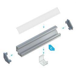 LUMINES Sarokba rögzíthető Led profil csomag Natúr 1 méter Víztiszta PMMA takaróval