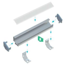LUMINES Asszimetrikus Sarokba rögzíthető Led profil csomag Natúr 1 méter Víztiszta PMMA takaróval