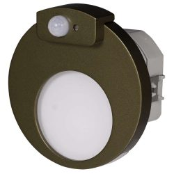 ZAMEL LEDES  Lépcső lámpa Beépíthető MUNA 230V Bronz keret Hideg fehér Beépített érzékelővel