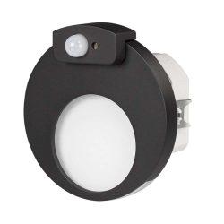 ZAMEL LEDES  Lépcső lámpa Beépíthető MUNA 230V Fekete keret Hideg fehér Beépített érzékelővel