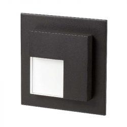 ZAMEL LEDES  Lépcső lámpa Beépíthető TIMO 14V Fekete keret Hideg fehér