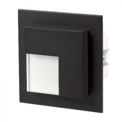 ZAMEL LEDES  Lépcső lámpa Beépíthető TIMO 230V Fekete keret Hideg fehér