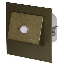 ZAMEL LEDES  Lépcső lámpa Beépíthető NAVI 230V Bronz keret Hideg fehér Beépített érzékelővel