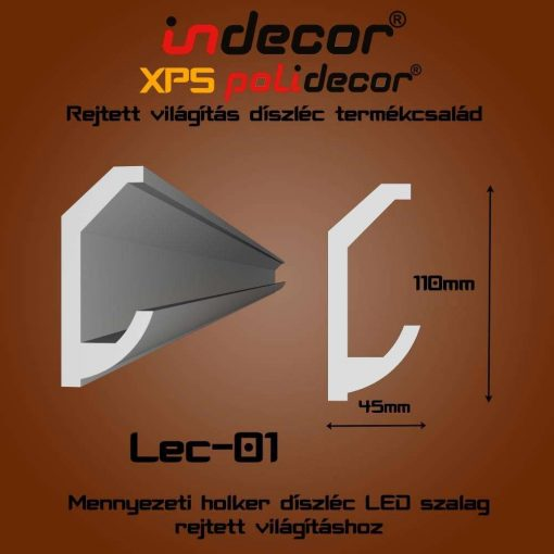 Indecor® Lec-01 Mennyezeti rejtett világítás díszléc