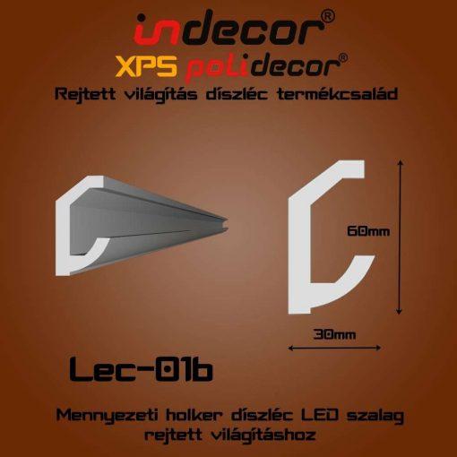 Indecor® Lec-01B Mennyezeti rejtett világítás díszléc