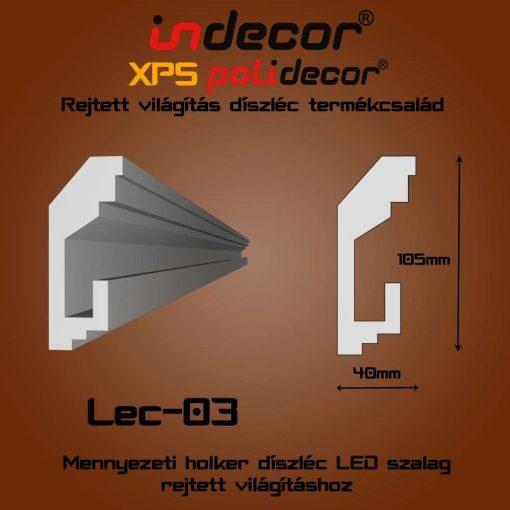Indecor® Lec-03 Mennyezeti rejtett világítás díszléc