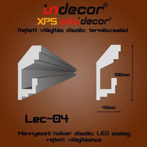 Indecor® Lec-04 Mennyezeti rejtett világítás díszléc