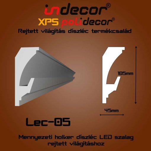 Indecor® Lec-05 Mennyezeti rejtett világítás díszléc