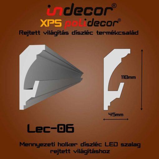 Indecor® Lec-06 Mennyezeti rejtett világítás díszléc