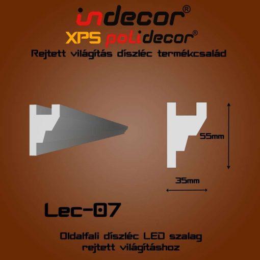 Indecor® Lec-07 Oldalfali rejtett világítás díszléc