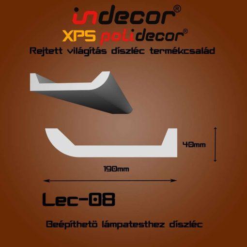Indecor® Lec-08 Beépíthető lámpatesthez díszléc