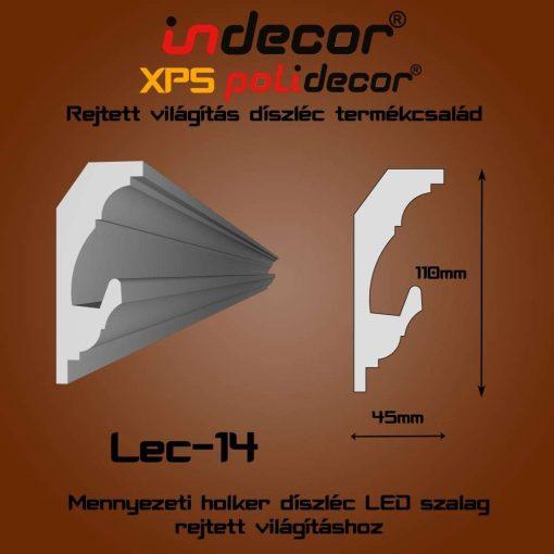 Indecor® Lec-14 Mennyezeti rejtett világítás díszléc