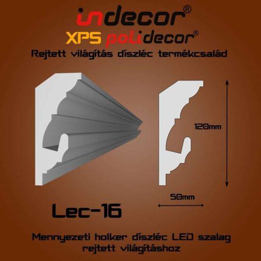 Indecor® Lec-16 Mennyezeti rejtett világítás díszléc