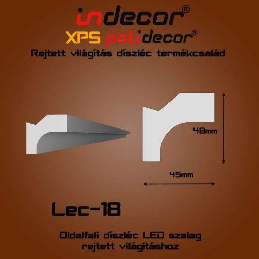 Indecor® Lec-18 Oldalfali rejtett világítás díszléc