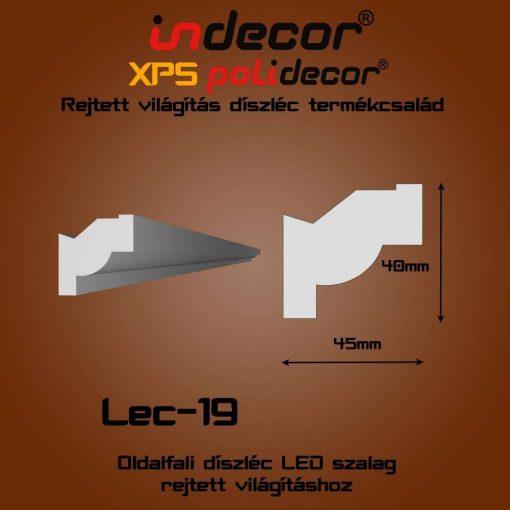 Indecor® Lec-19 Oldalfali rejtett világítás díszléc