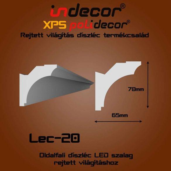 Indecor® Lec-20 Oldalfali rejtett világítás díszléc