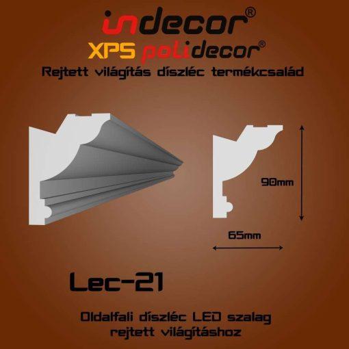 Indecor® Lec-21 Oldalfali rejtett világítás díszléc