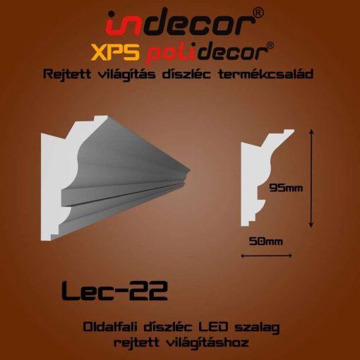 Indecor® Lec-22 Oldalfali rejtett világítás díszléc