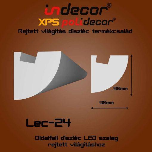 Indecor® Lec-24 Oldalfali rejtett világítás díszléc
