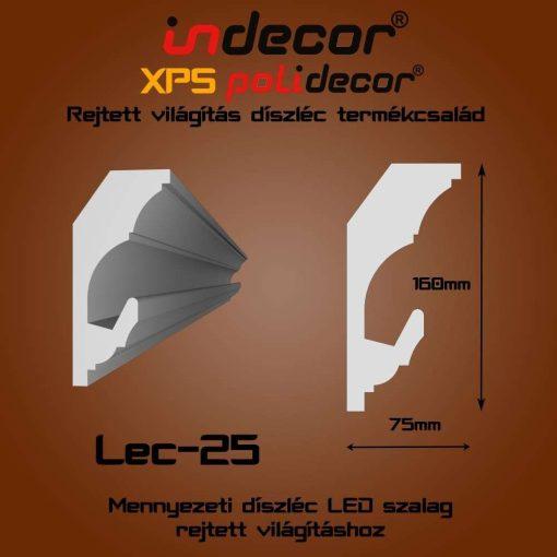 Indecor® Lec-25 Mennyezeti rejtett világítás díszléc