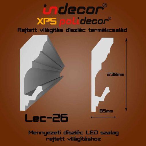 Indecor® Lec-26 Mennyezeti rejtett világítás díszléc