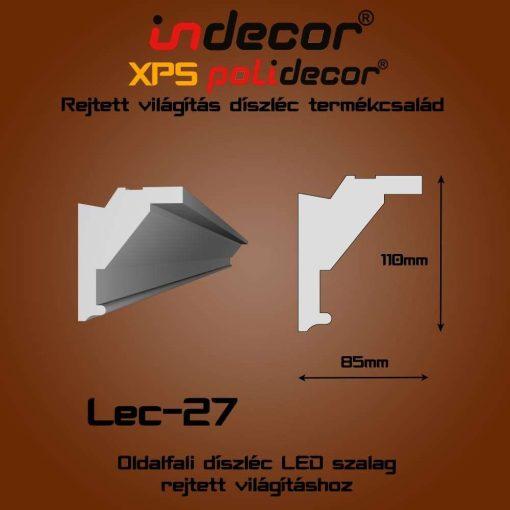 Indecor® Lec-27 Oldalfali rejtett világítás díszléc