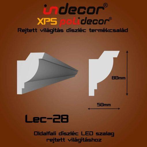 Indecor® Lec-28 Oldalfali rejtett világítás díszléc