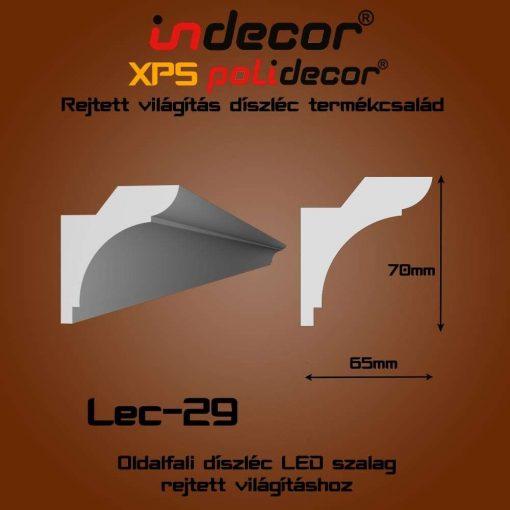 Indecor® Lec-29 Oldalfali rejtett világítás díszléc