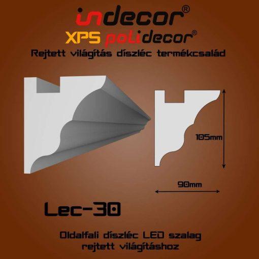 Indecor® Lec-30 Oldalfali rejtett világítás díszléc