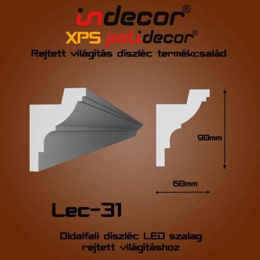 Indecor® Lec-31 Oldalfali rejtett világítás díszléc