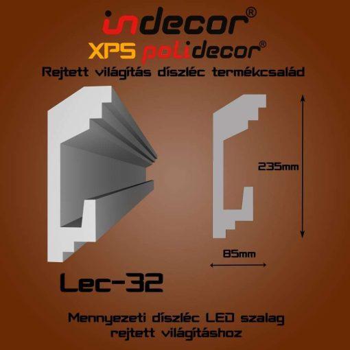 Indecor® Lec-32 Mennyezeti rejtett világítás díszléc
