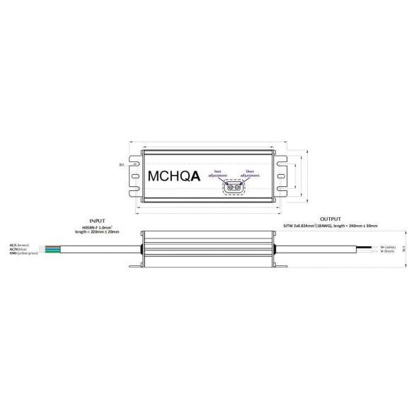 POS Led tápegység MCHQA-60-12 60W 12V 5A IP65 dimmelhető