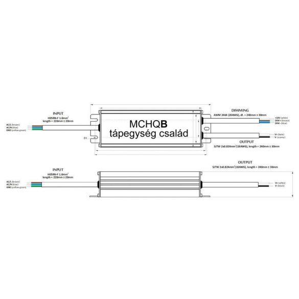 POS Led tápegység MCHQB-250-24 250W 24V 10.4A IP67 dimmelhető