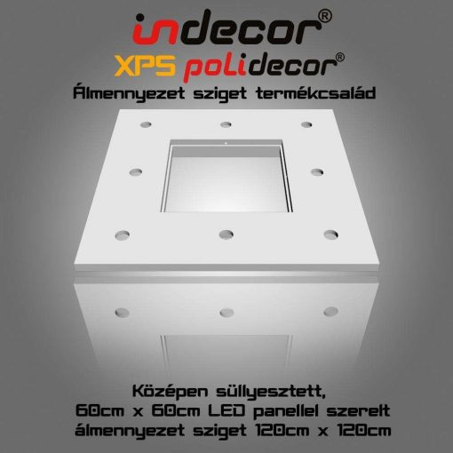 Indecor® N-120-LP Négyzet süllyesztett álmennyezet, LED panel világításnak