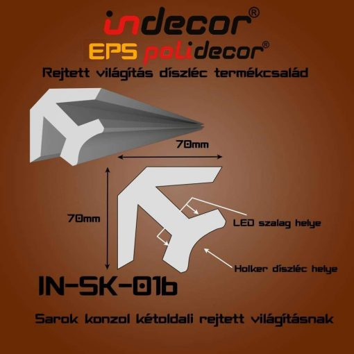 Indecor® SK-01B Sarok konzol 70x70